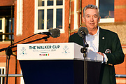 Nathaniel Crosby (USA) Team Captain gives his winners speech after his team won the Walker Cup at the Royal Liverpool Golf Club, Sunday, Sept 8, 2019, in Hoylake, United Kingdom. (Steve Flynn/Image of Sport)