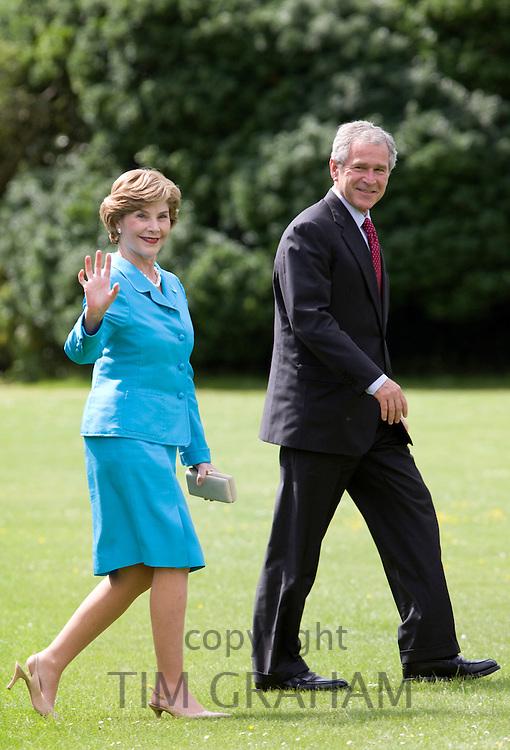 President George W Bush and his wife, First Lady Laura Bush, in England, United Kingdom