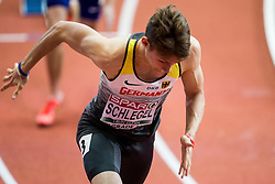 Marvin Schlegel of Germany competes in the Men's 400 metres heats on day one of the 2017 European Athletics Indoor Championships at the Kombank Arena on March 3, 2017 in Belgrade, Serbia. Photo by Vid Ponikvar / Sportida