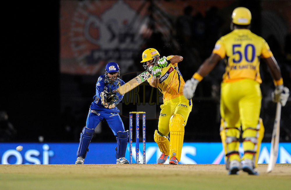 Faf du Plessis of The Chennai Superkings bats during the eliminator match of the Pepsi Indian Premier League Season 2014 between the Chennai Superkings and the Mumbai Indians held at the Brabourne Stadium, Mumbai, India on the 28th May  2014<br /> <br /> Photo by Pal PIllai / IPL / SPORTZPICS<br /> <br /> <br /> <br /> Image use subject to terms and conditions which can be found here:  http://sportzpics.photoshelter.com/gallery/Pepsi-IPL-Image-terms-and-conditions/G00004VW1IVJ.gB0/C0000TScjhBM6ikg