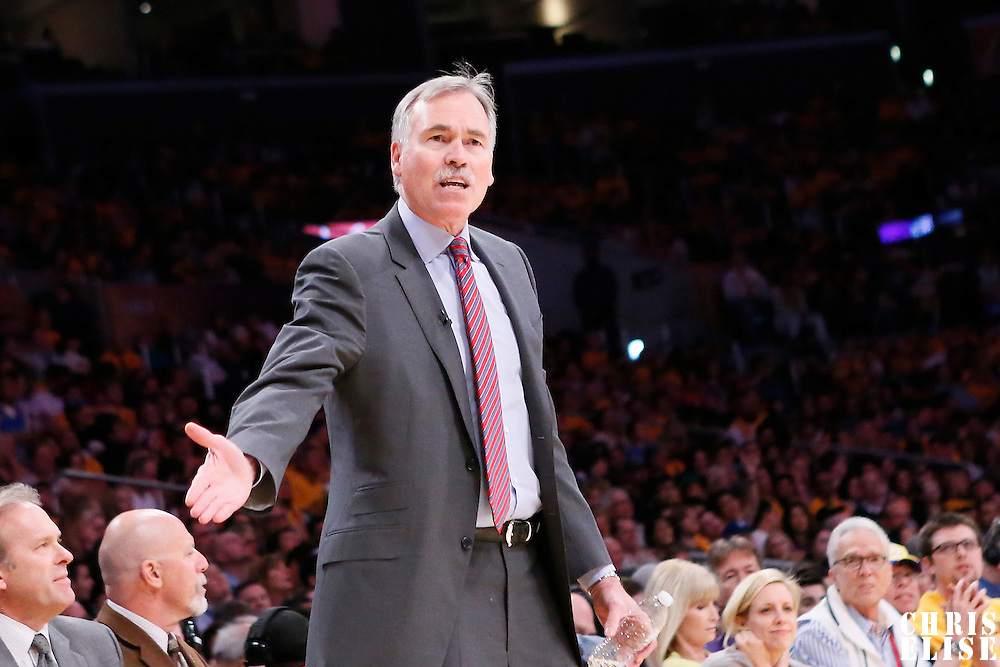 09 March 2014: Los Angeles Lakers head coach Mike D'Antoni reacts during the Los Angeles Lakers 114-110 victory over the Oklahoma City Thunder at the Staples Center, Los Angeles, California, USA.