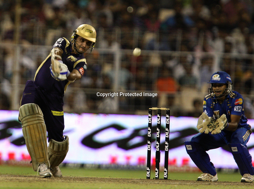 Kolkata Knight Riders Sourav Ganguly Hit The Shot Against Mumbai Indians During The  Indian Premier League - 56th match Twenty20 match | 2009/10 season Played at Eden Gardens, Kolkata 19 April 2010 - day/night (20-over match)