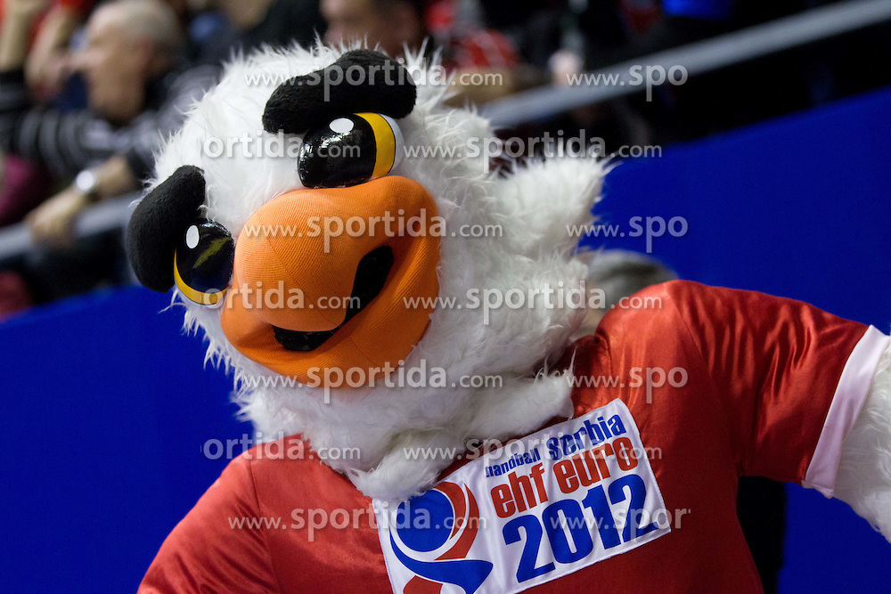 Mascot Tasa during handball match between Poland and Serbia in Preliminary Round of 10th EHF European Handball Championship Serbia 2012, on January 15, 2012 in Arena Pionir, Belgrade, Serbia. Serbia defeated Poland 22-18. (Photo By Vid Ponikvar / Sportida.com)