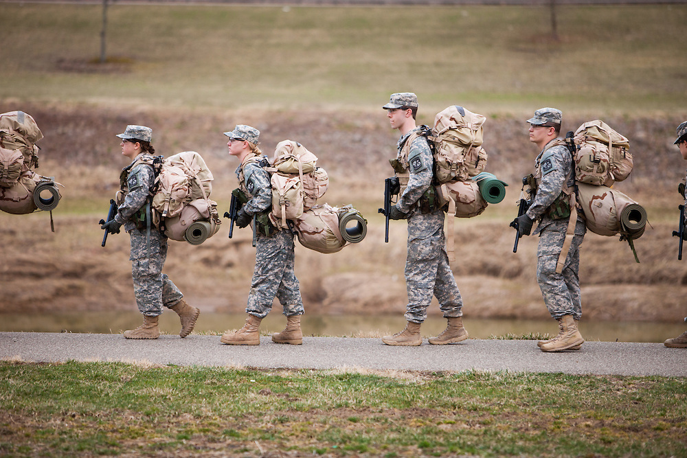 The Ohio University ROTC program prepare for their weekend combat training retreat with a march carrying a full pack to their encampment at The Ridges.  Photo by Ohio University / Jonathan Adams
