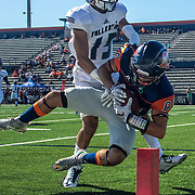 Nov. 05, 2016; Costa Mesa, CA; Orange Coast College wide receiver Gunar Perales (80) dives into the end zone for a touchdown after making a catch against Fullerton College defensive back Andrae Pierman (15). OCC won the game 35-14 and plays Golden West College Saturday.<br /> <br /> Photo by Jay Anderson / Sports Shooter Academy