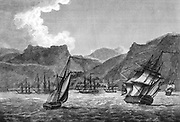 St Helena: British shipping off St Helena, the island to which Napoleon was banished after his surrender following defeat at Waterloo in 1814. Engraving. London 1817.