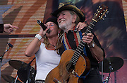 September 7, 2003; WILLIE NELSON with HEIDI NEWFIELD of TRICK PONY performing at Farm Aid, 2003, in Columbus, Ohio. Photo by Bryan Rinnert/3Sight Photography
