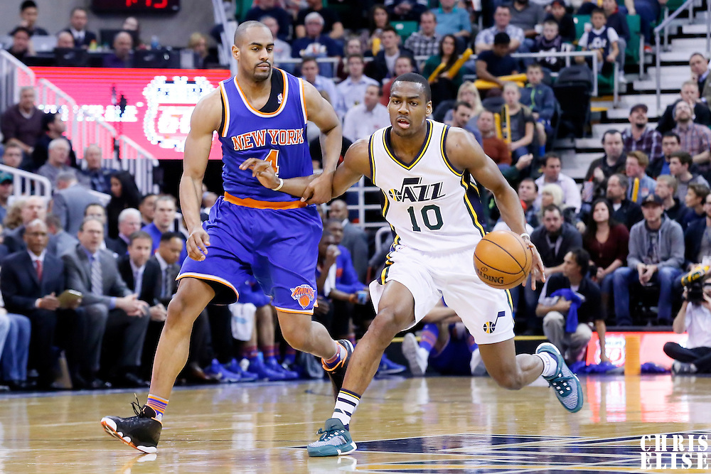 09 December 2015: Utah Jazz guard Alec Burks (10) drives past New York Knicks guard Arron Afflalo (4) during the Utah Jazz 106-85 victory over the New York Knicks, at the Vivint Smart Home Arena, Salt Lake City, Utah, USA.