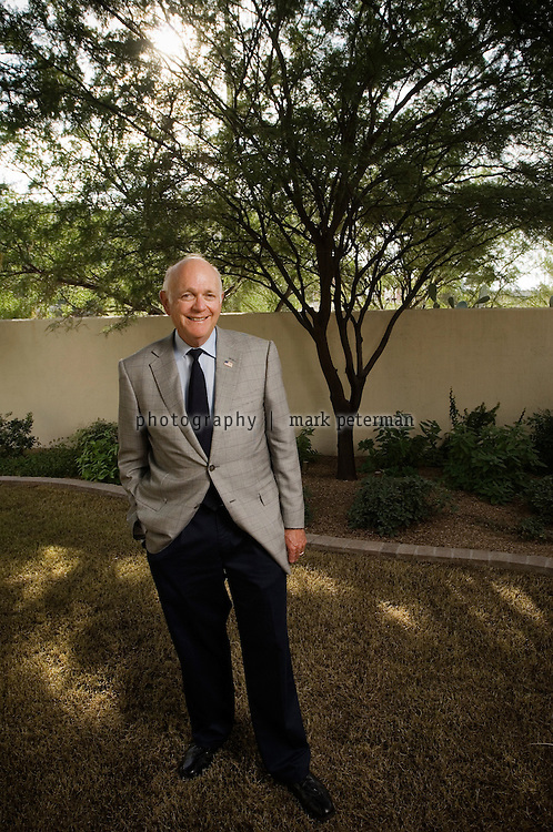 Dennis DeConcini, former US Senator from Arizona at his home in Tucson, Arizona.