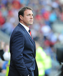 Cardiff City Manager, Malky Mackay - Photo mandatory by-line: Alex James/JMP - Tel: Mobile: 07966 386802 25/08/2013 - SPORT - FOOTBALL - Cardiff City Stadium - Cardiff -  Cardiff City V Manchester City - Barclays Premier League