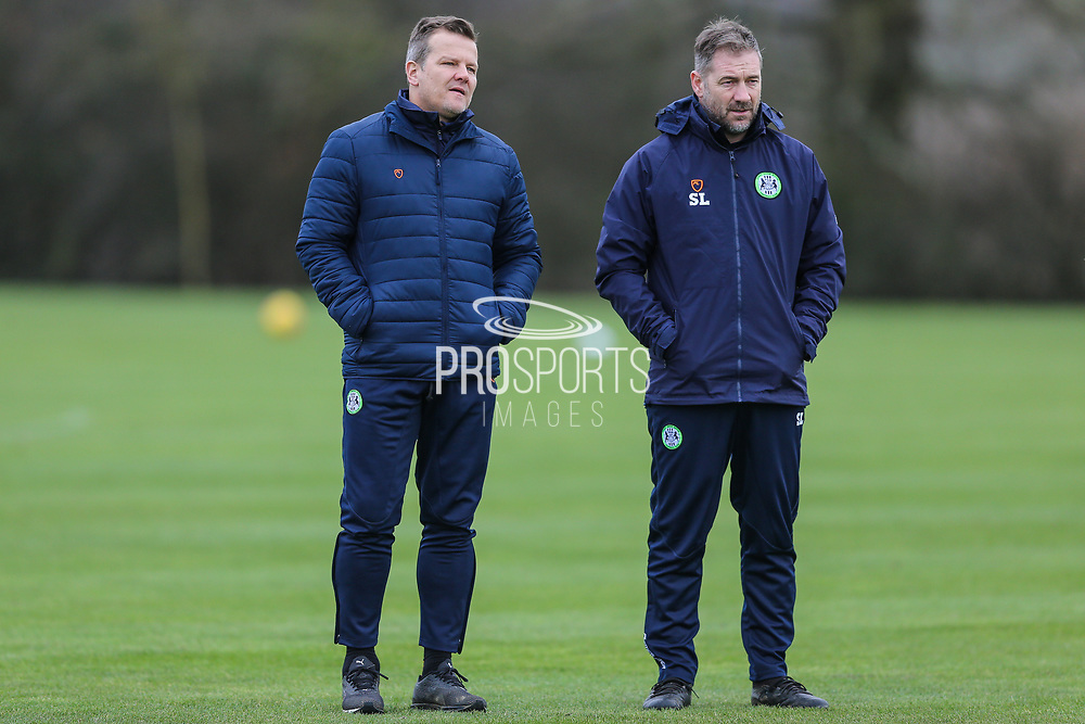 Forest Green Rovers manager, Mark Cooper and Forest Green Rovers assistant manager, Scott Lindsey at Stanley Park, Chippenham, United Kingdom on 14 January 2019.