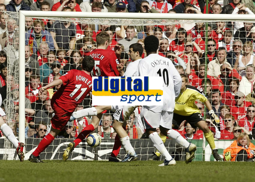 Photo: Aidan Ellis.<br /> Liverpool v Bolton Wanderers. The Barclays Premiership. 09/04/2006.<br /> liverpool's robbie Fowler fires in the first goal