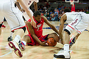 DALLAS, TX - JANUARY 4: Shawn Williams #2 of the SMU Mustangs battles for a lose ball against the Connecticut Huskies on January 4, 2014 at Moody Coliseum in Dallas, Texas.  (Photo by Cooper Neill) *** Local Caption *** Shawn Williams