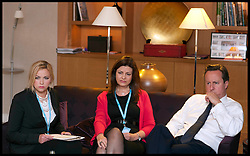 (LtoR) Charlotte Church and former police officer Jacqui Hames with the Prime Minister David Cameron,  during a private meeting at .The Conservative Party Conference at ICC, Birmingham, on the second day of the Party Conference, Tuesday October 9, 2012. Photograph by Andrew Parsons / i-Images
