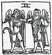 Zodiac sign of Gemini.  From 'Sphaera mundi', Strasburg, 1539