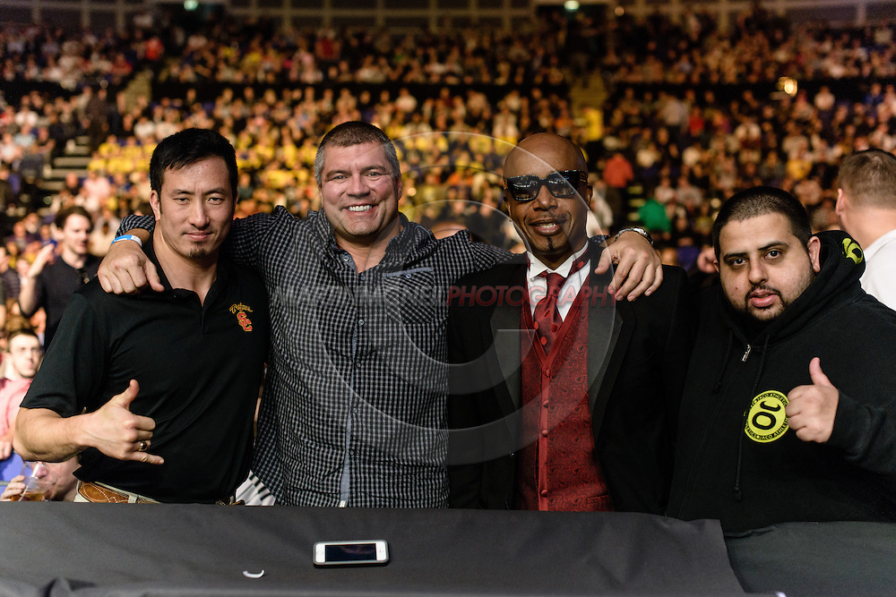 "LONDON, ENGLAND, MARCH 8, 2014: (L to R) Conan Cee, Lex McMahon, MC Hammer and Jason Dhaliwali are pictured during ""UFC Fight Night: Gustafsson vs. Manuwa"" inside the O2 Arena in Greenwich, London on Saturday, March 8, 2014 (© Martin McNeil)"
