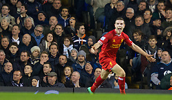 LONDON, ENGLAND - Sunday, December 15, 2013: Liverpool's Jordan Henderson celebrates scoring the second goal against Tottenham Hotspur during the Premiership match at White Hart Lane. (Pic by David Rawcliffe/Propaganda)