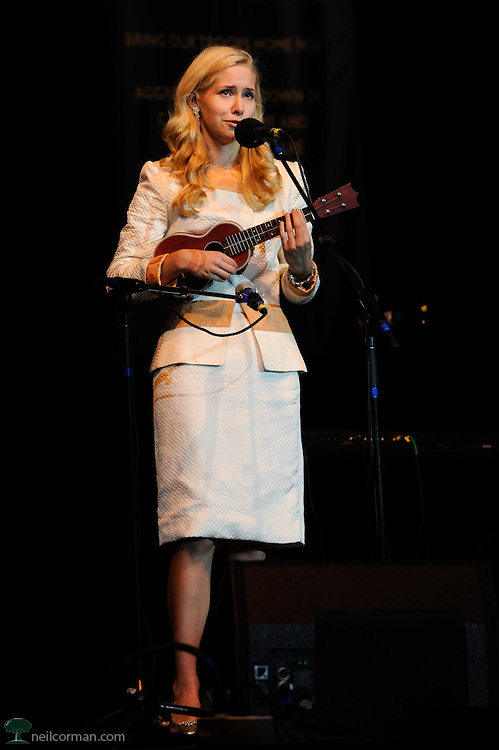 August 27, 2008 - Singer and songwriter Nellie McKay performs in Denver, Colorado at a Super Rally during the DNC for presidential candidate Ralph Nader.