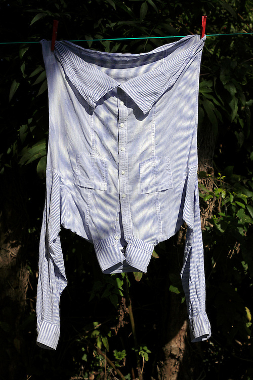 washing line with shirt hanging to dry