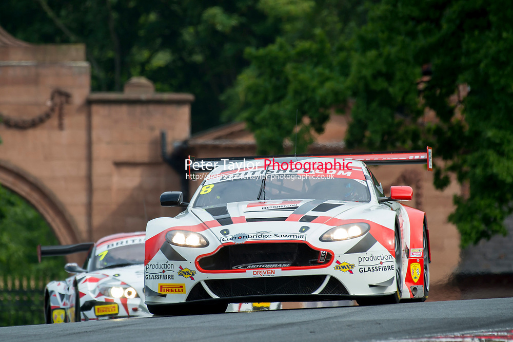 Phil Dryburgh (GBR) / Ross Wylie (GBR)  #8 Motorbase Performance  Aston Martin V12 Vantage GT3  Aston Martin 6.0L V12 British GT Championship at Oulton Park, Little Budworth, Cheshire, United Kingdom. May 28 2016. World Copyright Peter Taylor/PSP.