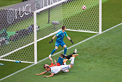 MOSCOW, RUSSIA - Sunday, July 1, 2018: Spain's Sergio Ramos forces an own-goal from Russia's Sergey Ignashevich for the first goal as goalkeeper Igor Akinfeev looks on during the FIFA World Cup Russia 2018 Round of 16 match between Spain and Russia at the Luzhniki Stadium. (Pic by David Rawcliffe/Propaganda)