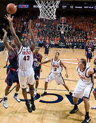 Virginia guard-forward Will Harris (43) grabs a rebound.  The Virginia Cavaliers men's basketball team faced the Howard Bison at the John Paul Jones Arena in Charlottesville, VA on November 14, 2007.