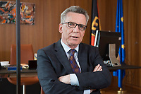 14 JUN 2016, BERLIN/GERMANY:<br /> Thomas de Maiziere, CDU, Bundesinnenminister, waehrend einem Interview, in seinem Buero, Bundesministerium des Inneren<br /> IMAGE: 20160614-01-034<br /> KEYWORDS: Büro, Thomas de Maizière