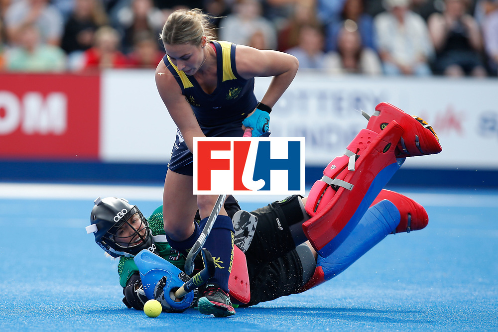 LONDON, ENGLAND - JUNE 26:  Jacky Briggs of the USA stops Mariah Williams of Australia in a penalty shoot-out during the FIH Women's Hockey Champions Trophy 2016 match between Australia and the United States at Queen Elizabeth Olympic Park on June 26, 2016 in London, England.  (Photo by Joel Ford/Getty Images)