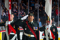 REGINA, SK - MAY 27: Military stand on guard at the Brandt Centre on May 27, 2018 in Regina, Canada. (Photo by Marissa Baecker/CHL Images)