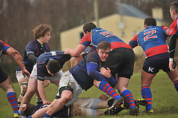 Westport's prop Adam Bourke clears a ruck during the junior cup semi-final. Pic Conor McKeown