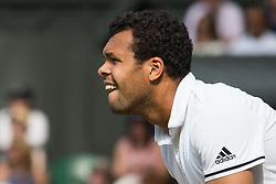 LONDON, ENGLAND - Wednesday, July 6, 2016:   Jo-Wilfried Tsonga (FRA) during the Gentlemen's Single Quarter Final match on day ten of the Wimbledon Lawn Tennis Championships at the All England Lawn Tennis and Croquet Club. (Pic by Kirsten Holst/Propaganda)