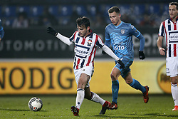 (L-R), Pedro Chirivella of Willem II, Reuven Niemeijer of Heracles Almelo during the Dutch Eredivisie match between Willem II Tilburg and Heracles Almelo at Koning Willem II stadium on December 02, 2017 in Tilburg, The Netherlands