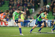 Colin Slade (Highlanders) kicks off to start the match during the Round 17 match of the 2013 Super Rugby Championship between RaboDirect Rebels vs Highlanders at AAMI Park, Melbourne, Victoria, Australia. 12/07/0213. Photo By Lucas Wroe