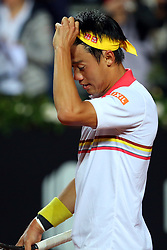 May 17, 2018 - Rome, Rome, Italy - 17th May 2018, Foro Italico, Rome, Italy; Italian Open Tennis; Kei Nishikori (JPN) celebrates after winning 6-1, 6-2 a match against Philipp Kohlschreiber (GER)  Credit: Giampiero Sposito/Pacific Press  (Credit Image: © Giampiero Sposito/Pacific Press via ZUMA Wire)