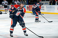 KELOWNA, CANADA -FEBRUARY 1: Joe Kornelsen C #10 of the Kamloops Blazers warms up against the Kelowna Rockets on February 1, 2014 at Prospera Place in Kelowna, British Columbia, Canada.   (Photo by Marissa Baecker/Getty Images)  *** Local Caption *** Joe Kornelsen;