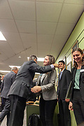 Dave Scholl, Board of Trustees chair, gives a hug to Faith Voinovich, a student trustee on the Board of Trustees and junior in chemical engineering, at the grand opening and ribbon cutting for the new CoLab, Ohio University's hub of innovation and entrepreneurial activities, on the third floor of the Vernon Alden Library, October 18, 2018. (Photo by Stephen Zenner/Ohio University Libraries)