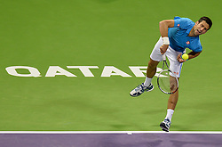 DOHA, Jan. 7, 2017  Novak Djokovic of Serbia serves to Fernando Verdasco of Spain during the men's singles semifinal of the ATP Qatar Open tennis tournament at the Khalifa International Tennis Complex in Doha, capital of Qatar, on Jan. 6, 2017. Novak Djokovic won 2-1. wll) (Credit Image: © Nikku/Xinhua via ZUMA Wire)