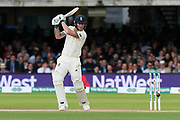 Ben Stokes of England hits the ball to the boundary for four runs during the International Test Match 2019 match between England and Australia at Lord's Cricket Ground, St John's Wood, United Kingdom on 18 August 2019.
