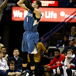 Feb 27, 2016; New Orleans, LA, USA; Minnesota Timberwolves guard Zach LaVine (8) shoots against the New Orleans Pelicans during the second half of a game at  the Smoothie King Center. The Timberwolves defeated the Pelicans 112-110.  Mandatory Credit: Derick E. Hingle-USA TODAY Sports