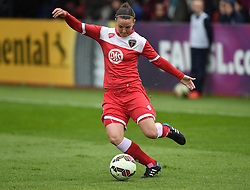 Bristol Academy's Loren Dykes in action during the FA Women's Super League match between Bristol Academy Women and Notts County Ladies FC at Stoke Gifford Stadium on 25 April 2015 in Bristol, England - Photo mandatory by-line: Paul Knight/JMP - Mobile: 07966 386802 - 25/04/2015 - SPORT - Football - Bristol - Stoke Gifford Stadium - Bristol Academy Women v Notts County Ladies FC - FA Women's Super League