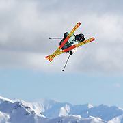Jossiah Wells, New Zealand, in action during the Freeski Slopestyle Men's Final at Snow Park, New Zealand during the Winter Games. Wanaka, New Zealand, 18th August 2011. Photo Tim Clayton