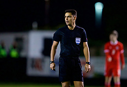 RHYL, WALES - Wednesday, November 14, 2018: Referee Juri Frischer during the UEFA Under-19 Championship 2019 Qualifying Group 4 match between Wales and Scotland at Belle Vue. (Pic by Paul Greenwood/Propaganda)