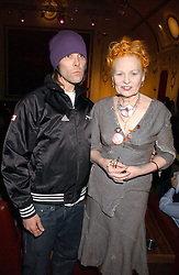 Singer IAN BROWN and VIVIENNE WESTWOOD at the launch of 'Grand Classics:Films with Style' series in London hosted by Vivienne Westwood at The Electric Cinema, Portobello Road, London W11 on 20th March 2006.<br />