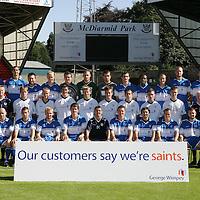 St Johnstone FC Squad 2006-2007<br />Pictured back row from left, Simon Mensing, Allan McManus, Stephen Dobbie, Steven Anderson, Gordon O'Brien, Bryn Halliwell, Kevin Cuthbert, Andy Lawrie, Jason Scotland, Paul Sheerin, Kevin Rutkiewicz and Willie Dyer.<br />Middle row from left, Tommy Campbell (Youth Development Manager), Nick Summersgill (Physio), Johnny Black, Bobby Barr, Mark Gallagher, Steven Doris, Kevin Moon, Daniel O'Donnell, Neil McCallum, Andy Jackson, Jocky Peebles (Asst Physio) and Jim McQueen (Goalkeeping coach).<br />Front row from left, Jim Weir (Asst Manager), Darren Sheridan, Peter MacDonald, Ryan Stevenson, Kevin James, Owen Coyle (Manager), Martin Hardie, Goran Stanic, Steven Milne, Neil Janczyk and Atholl Henderson (Coach).<br />Picture by Graeme Hart.<br />Copyright Perthshire Picture Agency<br />Tel: 01738 623350  Mobile: 07990 594431