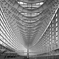 Asia, Tokyo, Japan, Interior view of Glass Hall's modern architecture at Tokyo International Forum