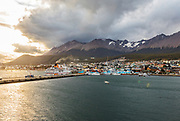 Patagonia, cruising with Ventus Australis. Ushuaia, Argentina. the southest Argentinian city, main port and starting point for all kind of excursion in Patagonia. view of the port
