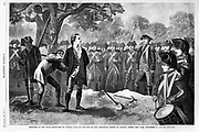The British Army carries out the execution by hanging of the American patriot Nathan Hale for spying during the American Revolution. A black man is in the tree he is to hang from, a drummer boy is in the foreground, a pick and shovel used for his grave lie in front of him.  New York City September 21, 1776. Source: Harper's Weekly, 1860.