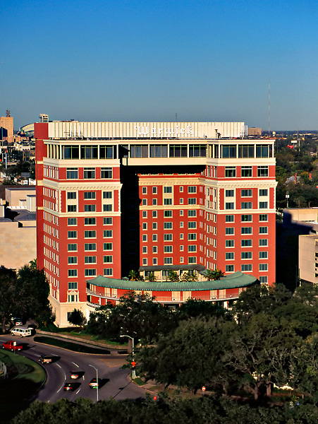 Aerial view of the old Warwick Hotel (now the Hotel ZaZa) in Houston, Texas.