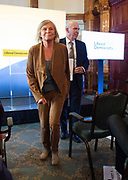"""Vince Cable speech """"Turning the Lib Dems into a Movement of the Moderates"""" - the  launch of Liberal Democrat reform proposals, including speech and press Q&A.<br /> 7th September 2018  <br /> At the National Liberal Club, London. Great Britain <br /> <br /> Vince Cable MP with wife Rachel Smith as they leave after the speech <br /> <br /> <br /> Photograph by Elliott Franks"""