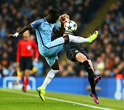 Bacary Sagna of Manchester City challenges Stuart Armstrong of Celtic  - Mandatory by-line: Matt McNulty/JMP - 06/12/2016 - FOOTBALL - Etihad Stadium - Manchester, England - Manchester City v Celtic - UEFA Champions League Group C
